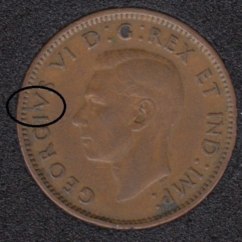 1947 - Break V to Rim - Canada Cent