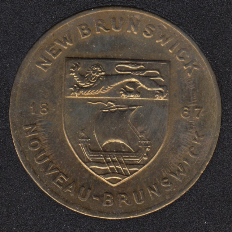 Coat of Arms of New Brunswick  (1867) Medal - with NB Flower Purple Violet