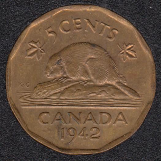 1942 - Tombac - Unc - Canada 5 Cents