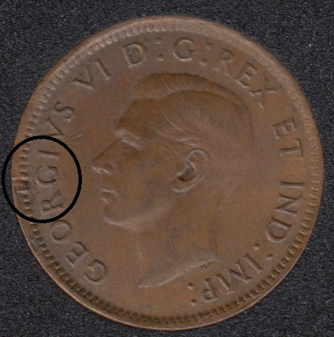 1943 - Xtra Metal on Rim - Canada Cent