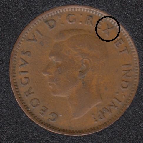 1947 ML - Break X to Rim - Canada Cent