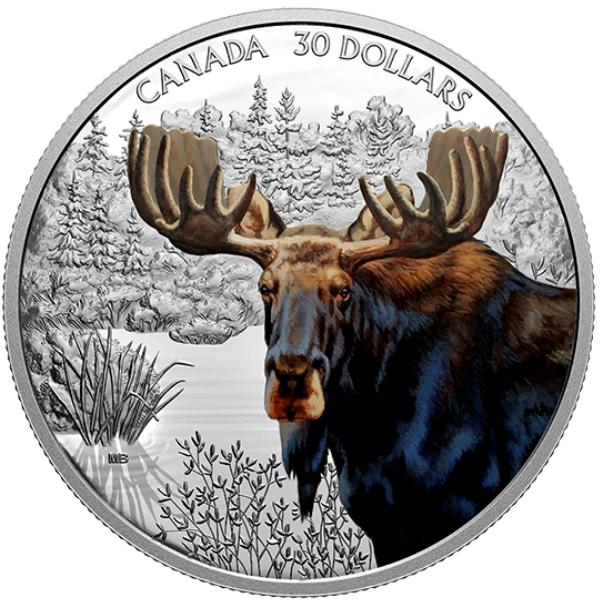 2020 - $30 - Pièce de 2 oz en argent pur – Prestance faunique : Orignal