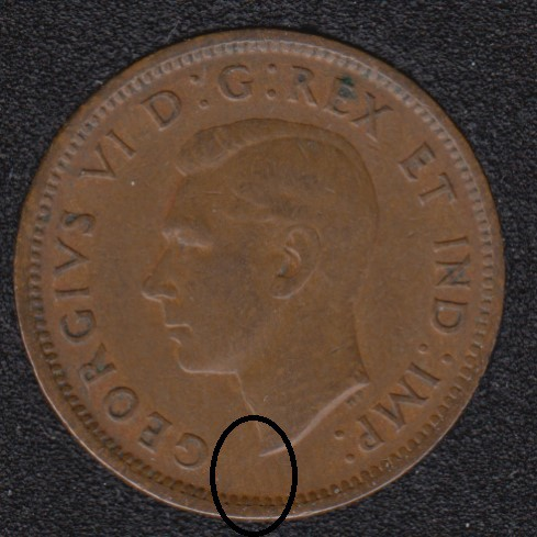 1940 - Break Bust to Rim - Canada Cent