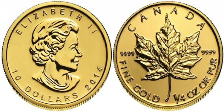 2014 1/4 Oz Or Pur Canada Feuille Érable - Sans Taxe