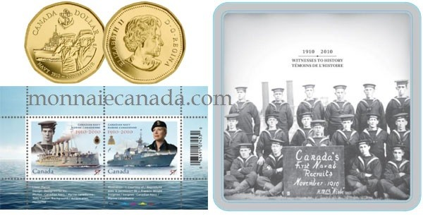 2010 - Ensemble pièce plaquée or $1.00 et timbres - Centenaire de la Marine canadienne