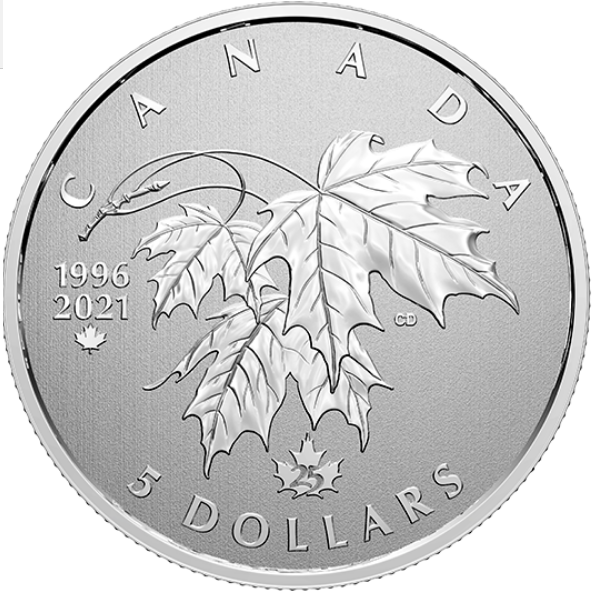 2021 - $5 - 1/4 oz. Pure Silver Coin - Moments to Hold: 25th Anniversary of Canada's Arboreal Emblem