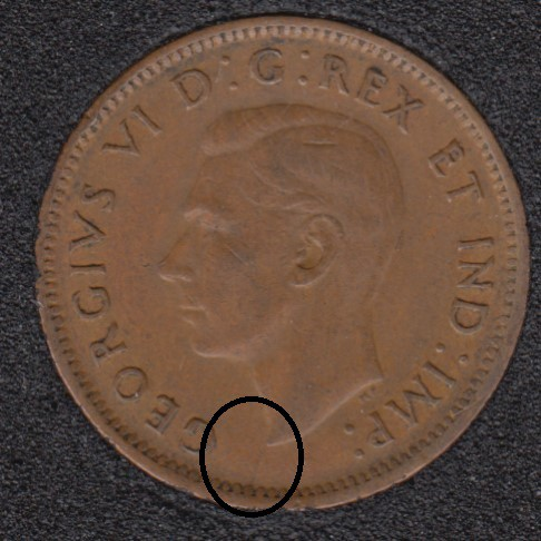 1947 - Break Bust to Rim - Canada Cent
