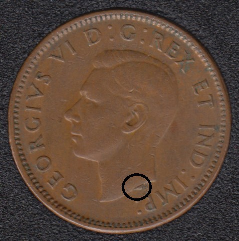 1945 - Dot on Bust - Canada Cent