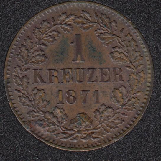 1871 - 1 Kreuzer - Baden - Allemagne