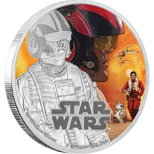 2016 Niue Star Wars: The Force Awakens - Poe Dameron 1 oz Silver Colorized Proof $2 GEM Proof