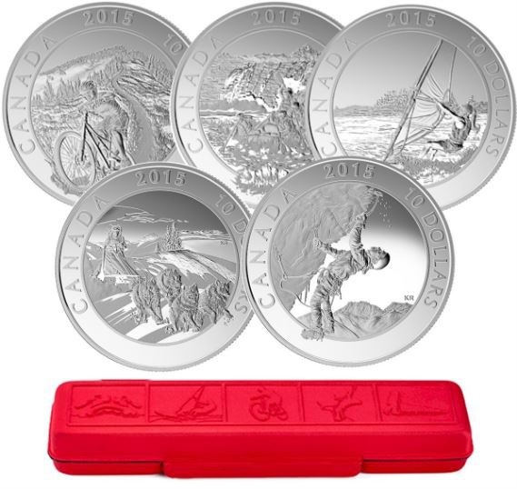 2015 - 5 Coins Set of  $10 Fine Silver - Adventure Canada