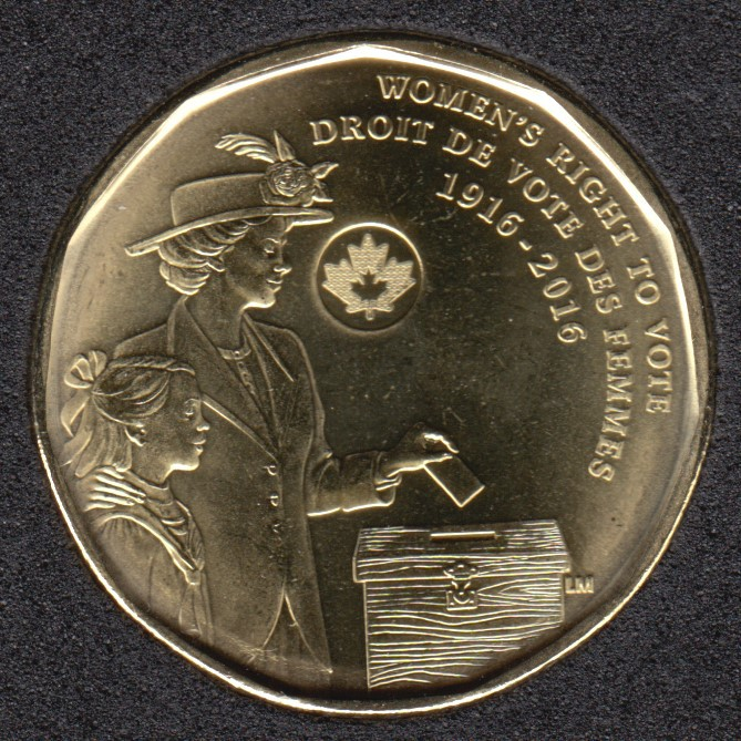2016 - B.Unc - Women's Right to Vote - Canada Dollar