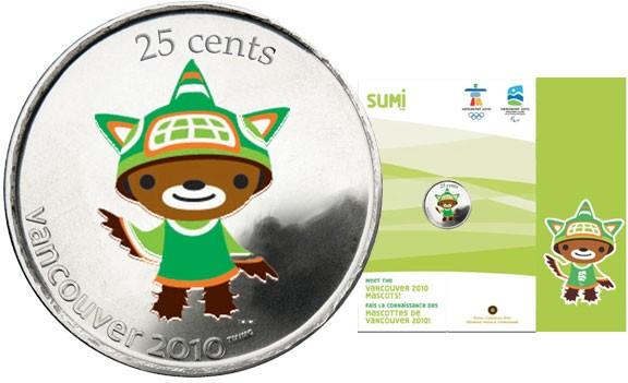 2010 - 25¢ - Vancouver – Pièce avec mascotte Sumi