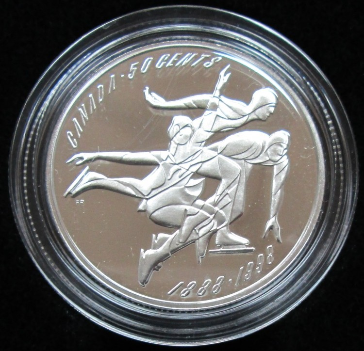 1998 CANADA 50 Cents Sterling Silver - Figure Skating Championship