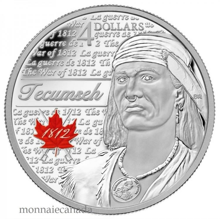 2012 - $4.00 - Tecumseh - Fine Silver Coin