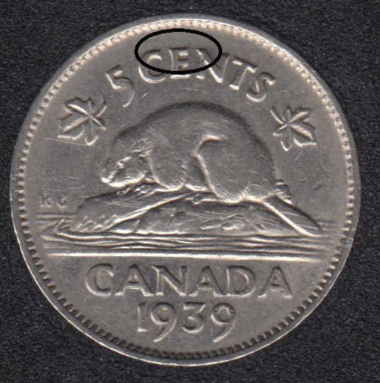 1939 - Die Break CEN Attached - Canada 5 Cents