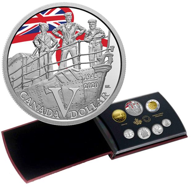 2020 - Ensemble épreuve numismatique avec dollar en argent édition spéciale – 75e anniversaire du jour de la Victoire en Europe : La Marine royale canadienne