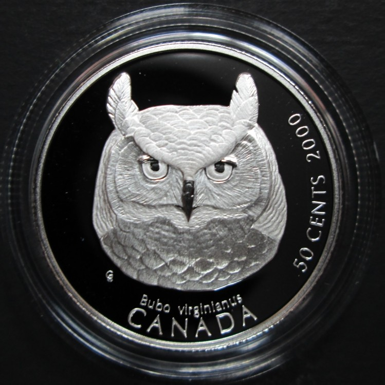 2000 Canada 50 Cents Sterling Silver - Great Horned Owl - Canada's Birds of Prey