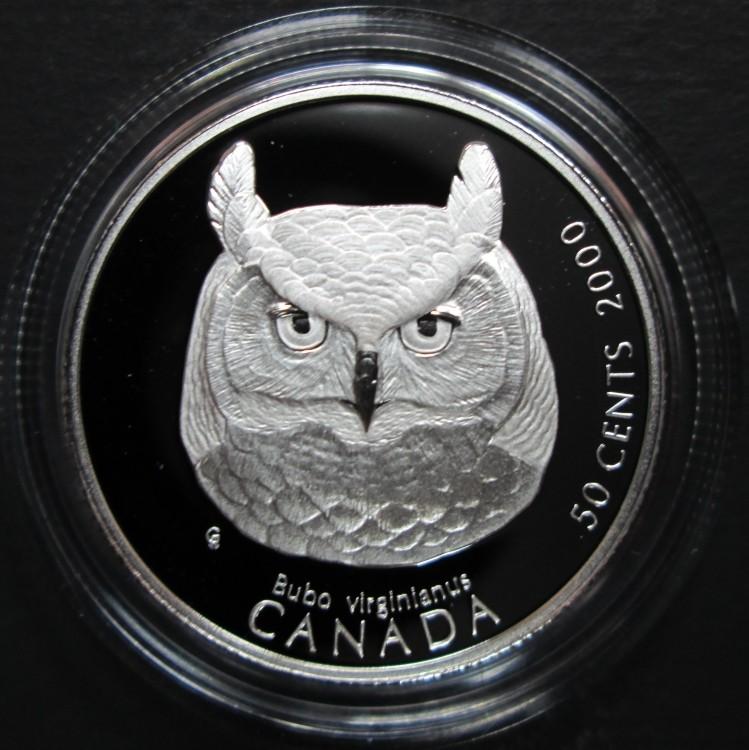 2000 Canada 50 Cents en Argent Sterling - Grand-Duc D'Amérique - Oiseaux de Proie du Canada