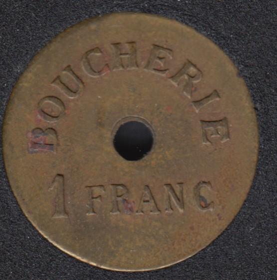 Boucherie  - 1 Franc - Union Fraternelle - Lievin - Token