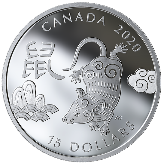 2020 - $15 -   1 oz. Pure Silver Coin - Year of the Rat