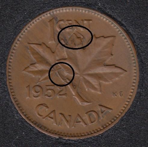 1952 - Clash on Branch Planchet Flaw & Half Moon - Canada Cent