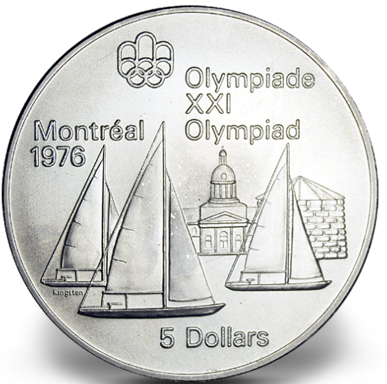1976 - #04 (1973) - $5 - Sterling Silver Coin, Montreal Summer Olympic Games, Kingston and Sailboats