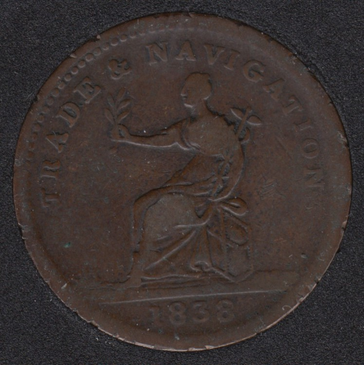 1838 - Trade & Navigation - Pure Copper Preferable to Paper - 1 Stiver - British Guiana