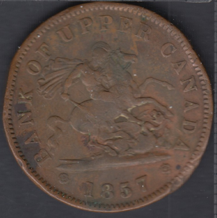 P.C. 1857 Bank of Upper Canada Penny - Bend - PC-6D