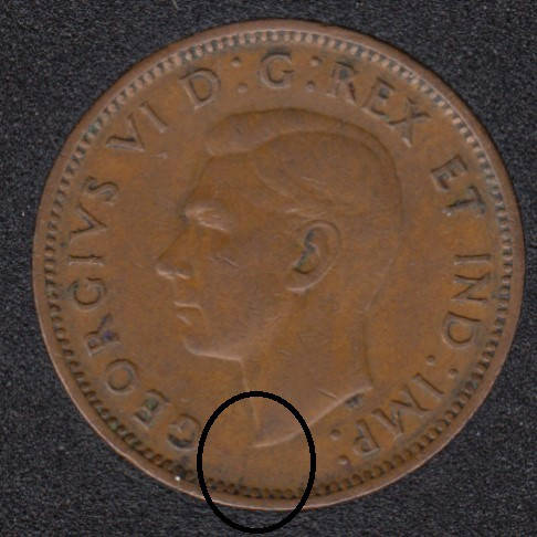 1947 ML - Break Bust to Rim - Canada Cent