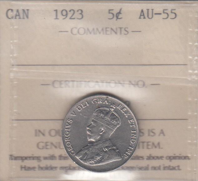 1923 - ICCS - AU 55 - Canada 5 Cents