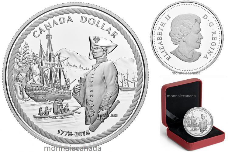 2018 - $1 - En argent - 240e anniversaire de l'arrivée du capitaine Cook dans la baie Nootka