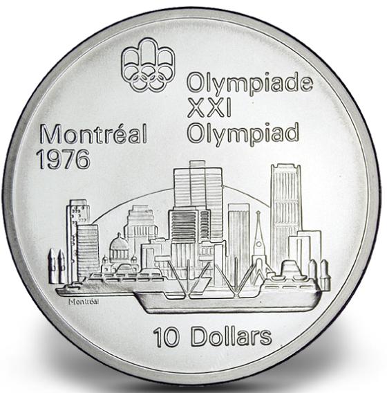 1976 - #03 (1973) - $10 - Pièce en argent sterling, Jeux olympiques d'été à Montréal, Vue sur Montréal