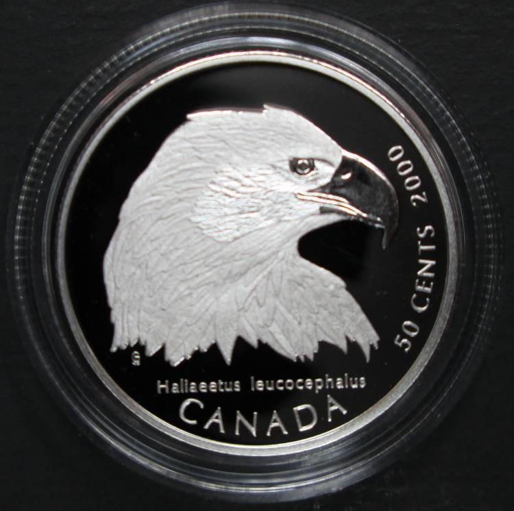 2000 Canada 50 Cents Sterling Silver - Bald Eagle - Canada's Birds of Prey