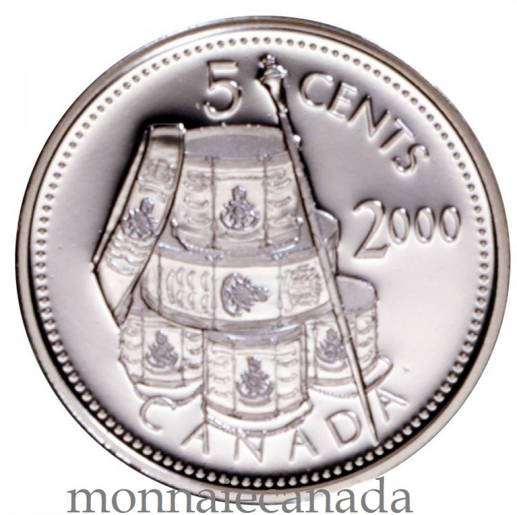 2000 - 5 Cents - Proof Sterling Silver - Voltigeurs de Quebec