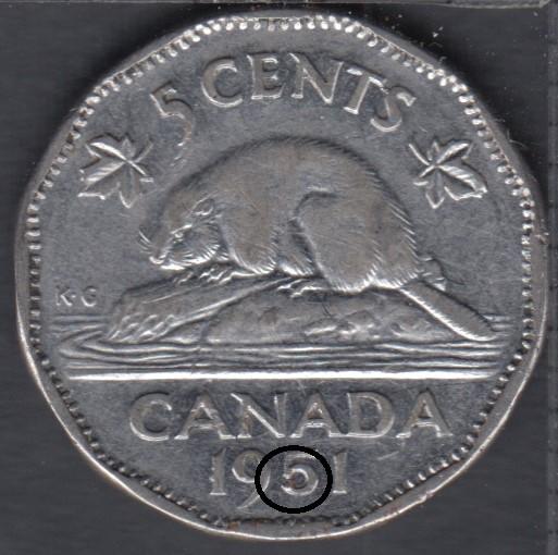 1951 - Close '5' - Canada 5 Cents