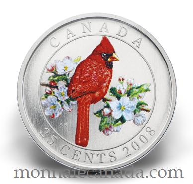 2008 - 25 cent Coloré - Le Cardinal Rouge