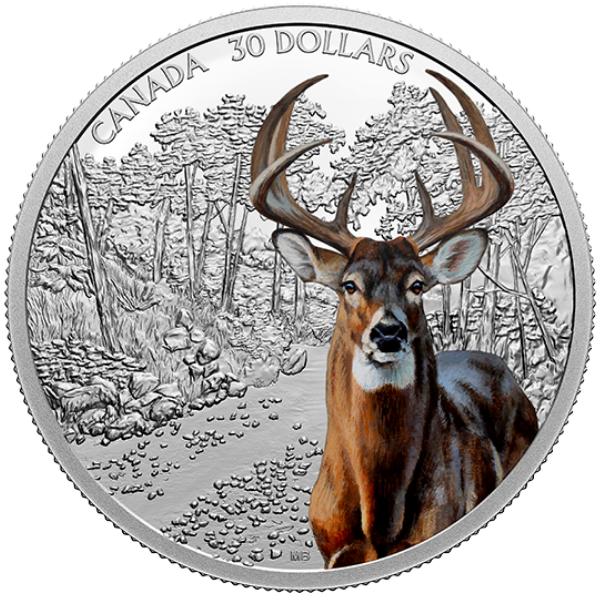 2021 - $30 - Pièce de 2 oz en argent pur - Prestance faunique : Cerf de Virginie