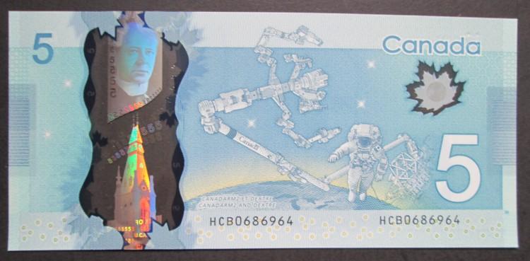 2013 $5 Dollars UNC - Macklem Poloz - Préfixe HCB