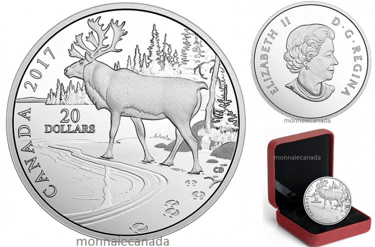 2017 - $20 - 1 oz en argent pur – Empreintes de la nature : Caribou des bois