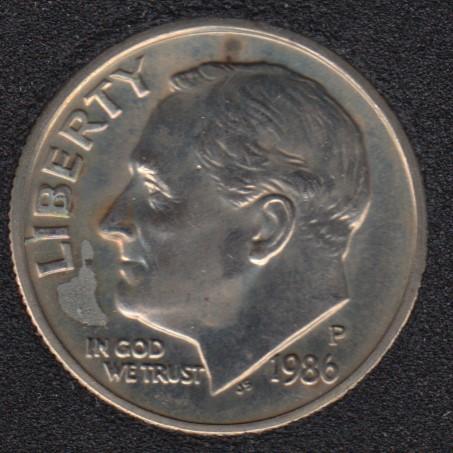 1986 P - Roosevelt - B.Unc - 10 Cents
