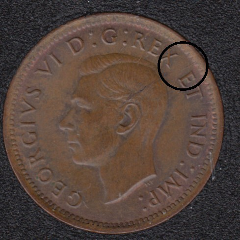 1940 - Brown Unc - Break Head to Rim - Canada Cent