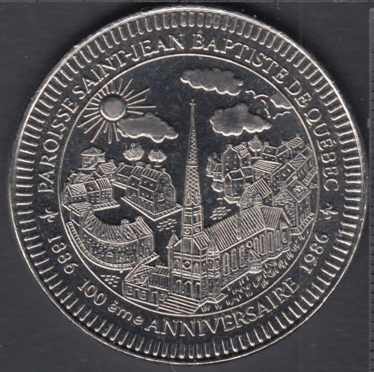 Quebec - Epicerie J.A. Moisan - 1986 - 1886 - Centenaire Paroisse St-Jean-Baptiste - Valeur 1 Ecu au Magasin