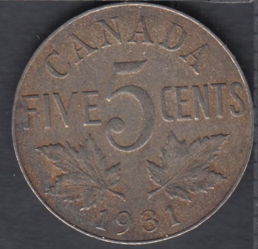 1931 - Rush - VF/EF - Canada 5 Cents