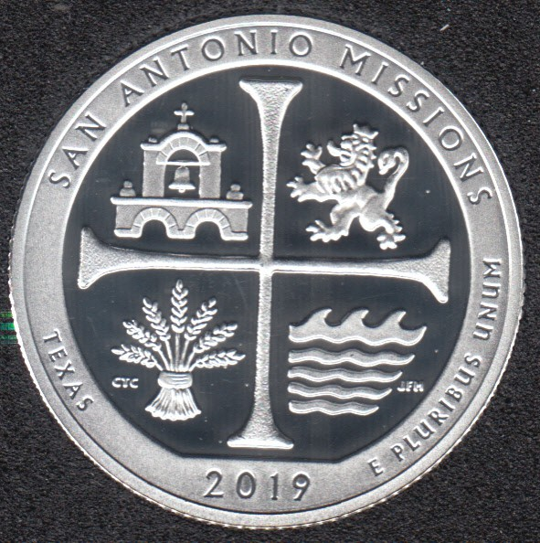 2019 S - Proof - San Antonio Missions - Argent Fin - 25 Cents