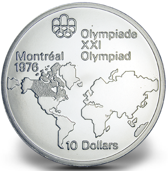 1976 - #01 (1973) -$10 - Sterling Silver Coin, Montreal Summer Olympic Games, Map of the World
