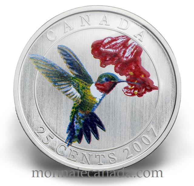 2007 - Ruby Throated Hummingbird - Coloured Coin 25 cents Bird