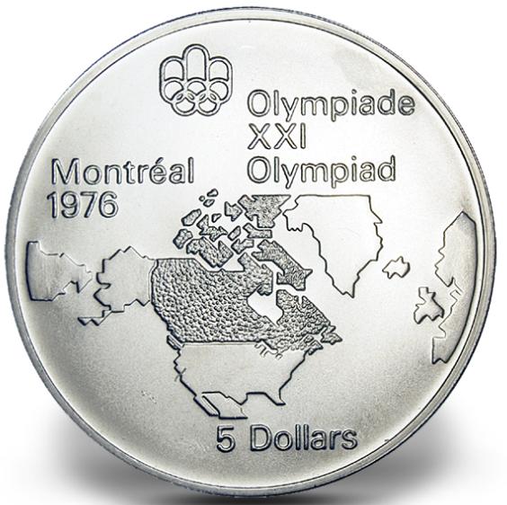 1976 - #02 (1973) - $5 - Pièce en argent sterling, Jeux olympiques d'été à Montréal, La carte de l'Amérique du Nord