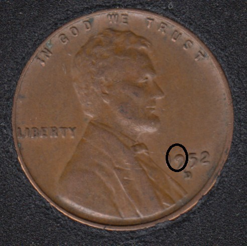 1952 D - Filled 9 - Lincoln Small Cent