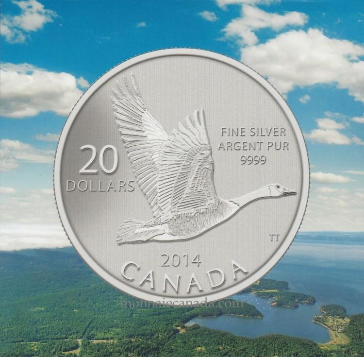 2014 - $20 pour $20 Pièce en argent fin - La bernache du Canada